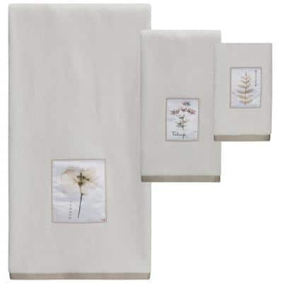 Pressed Leaves Natural Colored 3-Piece Towel Set