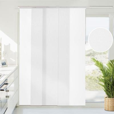 Brunch Cut-to-Size White Light Filtering Adjustable Sliding Panel Track Blind with 23 in Slats Up to 86 in. W X 96 in. L