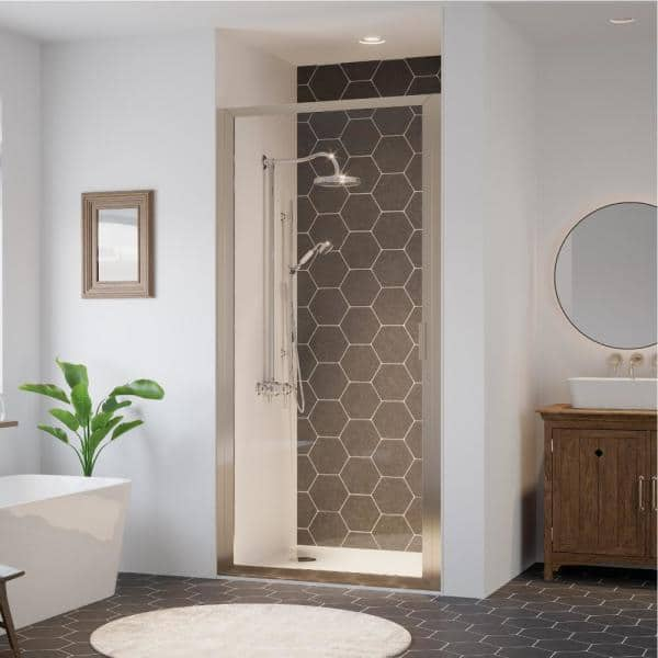 Coastal Shower Doors Paragon 34 In To 34 75 In X 75 In Framed Continuous Hinged Shower Door In Brushed Nickel With Clear Glass P34 75n C The Home Depot