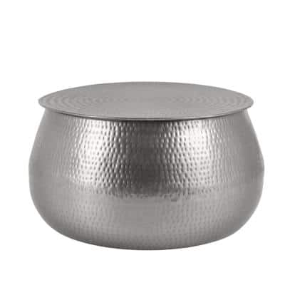 Calluna 31 in. Silver Medium Round Metal Coffee Table with Lift Top