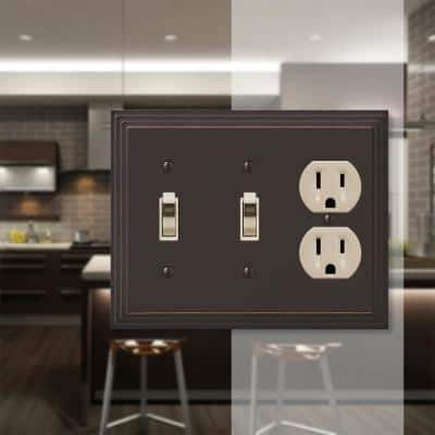Tiered 3 Gang 2-Toggle and 1-Duplex Metal Wall Plate - Aged Bronze
