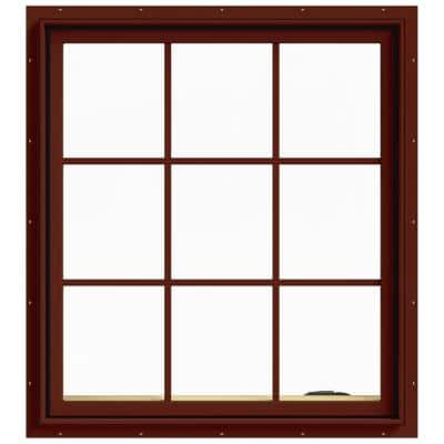 36 in. x 40 in. W-2500 Series Red Painted Clad Wood Right-Handed Casement Window with Colonial Grids/Grilles