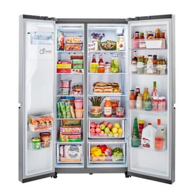 27 cu. ft. Side by Side Refrigerator with External Ice and Water Dispenser in Print Proof Stainless Steel