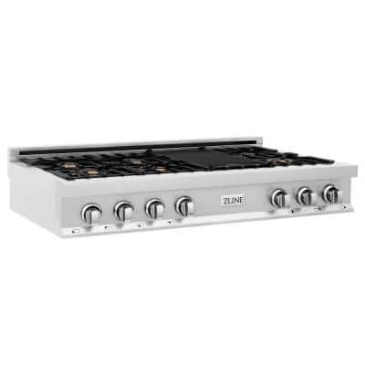 ZLINE 48 in. Porcelain Gas Stovetop with 7 Gas Brass Burners and Griddle (RT-BR-48)