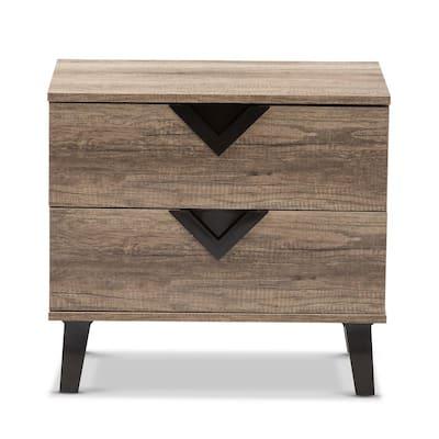 Swanson 2-Drawer Light Brown Wood Nightstand