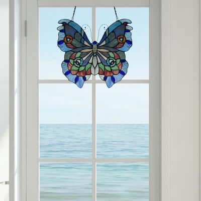 Purple Butterfly Stained Glass Window Panel