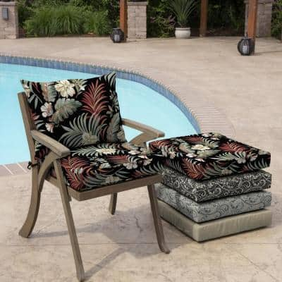 21 in. x 17 in. 2-Piece Deep Seating Outdoor Lounge Chair Cushion in Black Simone Tropical