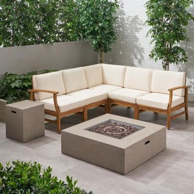 Illona Teak Brown 8-Piece Wood Patio Fire Pit Sectional Seating Set with Cream Cushion