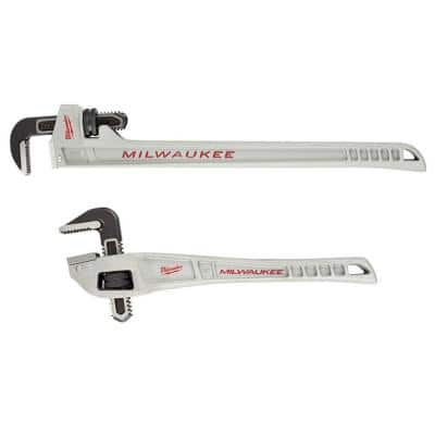 10 in. Aluminum Pipe Wrench with POWERLENGTH Handle with 14 in. Aluminum Offset Pipe Wrench