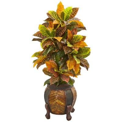 44 in. Croton Artificial Plant in Decorative Planter (Real Touch)
