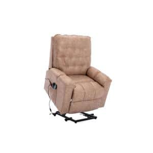 Elderly Heavy Duty Heated Massage Power Lift Recliner Chair with Remote Control and Soft Microfiber Fabric (Camel Gray)