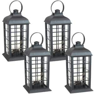 Oyster Bay Black Battery-Powered LED Indoor Lantern 13 in. (4-Pack)