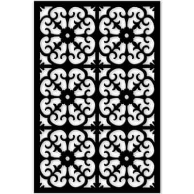 Roman 4 ft. x 32 in. Black Vinyl Decorative Screen Panel