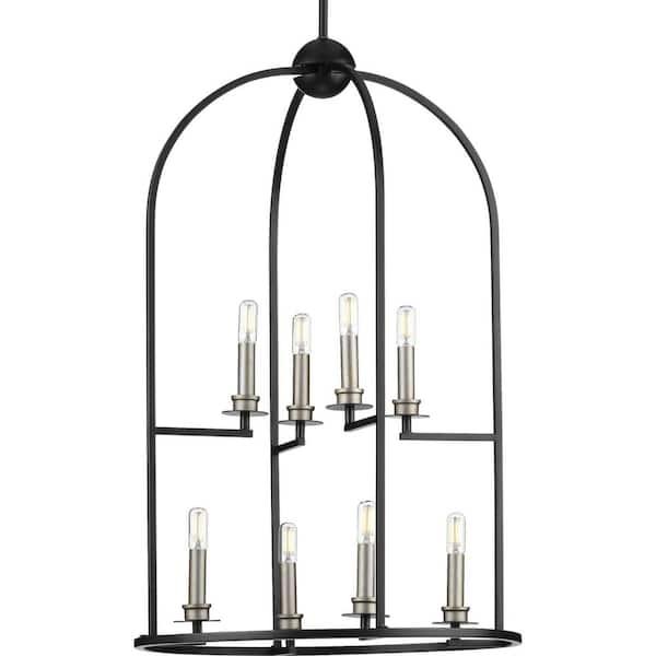 https www homedepot com p progress lighting seneca 8 light black foyer pendant p500122 031 310409158