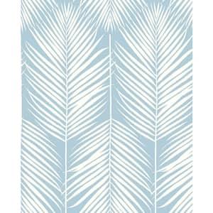 Palm Silhouette Hampton Blue Coastal 20.5 in. x 18 ft. Peel and Stick Wallpaper
