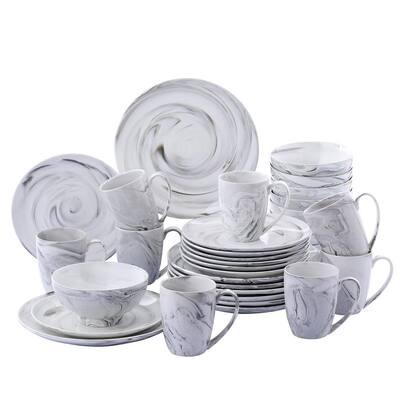 16-Piece Modern Marble Pattern Black Porcelain Dinnerware Sets (Service for Set for 4)