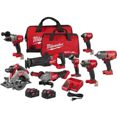 M18 FUEL 18-Volt Lithium-Ion Brushless Cordless Combo Kit with 1/2 in. High Torque Impact Wrench