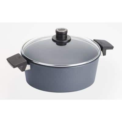 Diamond LITE 5.8 qt. Round Cast Aluminum Nonstick Casserole Dish in Gray with Glass Lid