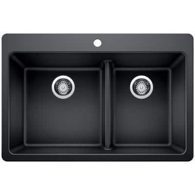 Drop-in/Undermount Granite Composite 33 in. 1-Hole 60/40 Double Bowl Kitchen Sink with Low Divide in Black