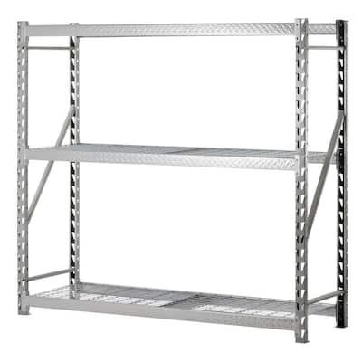 72 in. H x 77 in. W x 24 in. D 3-Shelf Steel Commercial Shelving Unit in Silver