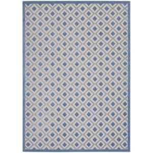Aloha Blue/Grey 7 ft. x 10 ft. Geometric Contemporary Indoor/Outdoor Area Rug