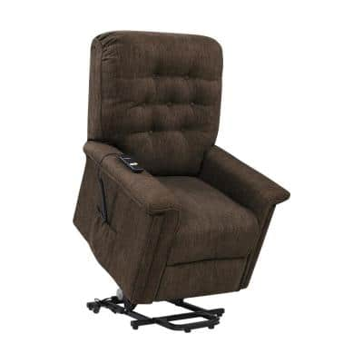 Petite Power Recline and Lift Chair in Chocolate Brown Herringbone