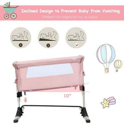 Pink Portable Baby Bed Side Sleeper Bassinet Crib with Carrying Bag