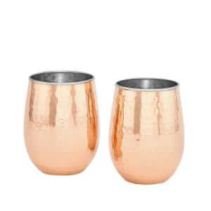 2 PLY Hammered Solid Copper / Stainless Steel Stemless Wine Tumblers (2-Piece Set)