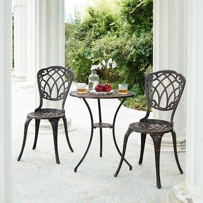 Ornate Traditional Black 3-Piece Aluminum Outdoor Patio Garden Bistro Set