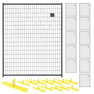 6 ft. x 60 ft. 12-Panel Black Powder-Coated Steel Welded Wire Temporary Fencing