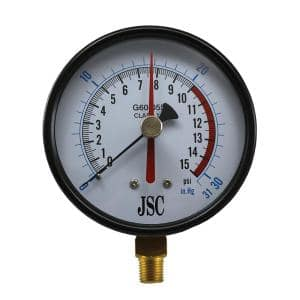 15 lb. Class 1A Gas Test Gauge with 4 in. Face and 1/4 in. NPT Connection