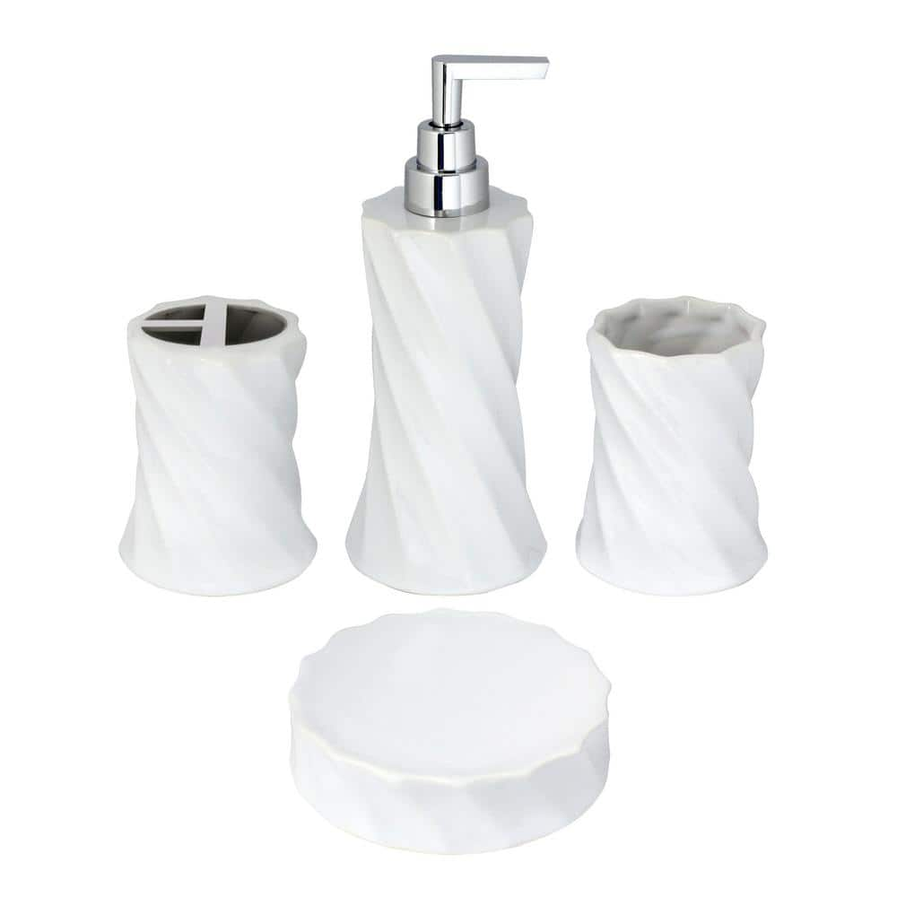 Modona Flora 4 Piece Bathroom Accessories Set In White Porcelain And Polished Chrome Bs02 4p A The Home Depot