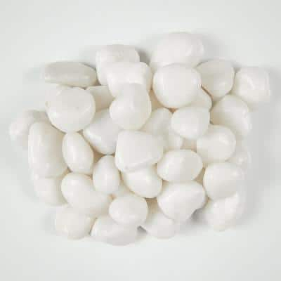 Marble Him White 0.25 cu. ft. 0.5 in. 20 lbs. Super Polished Pebbles