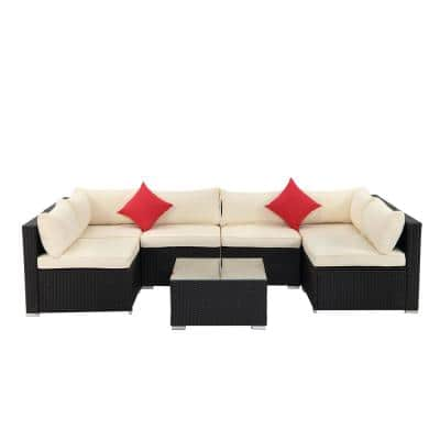7-Piece Beige Cushions Outdoor Patio Polyester Symmetrical 6-Seats Sectionals Sofa with 2-Pillows and Coffee Table