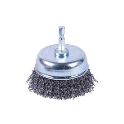3 in. x 1/4 in. Shank Coarse Crimped Cup Brush