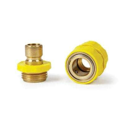 Quick Hose Connect - Brass Connector With Yellow Grip