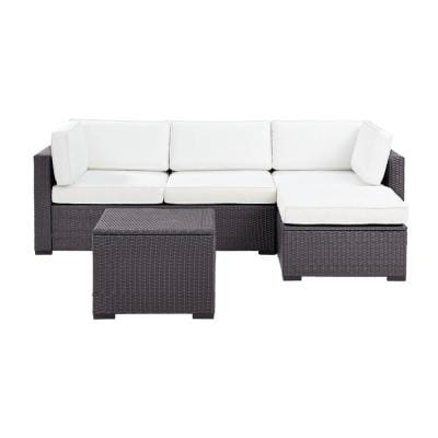 Biscayne 4 Piece Wicker Outdoor Sectional Set with White Cushions