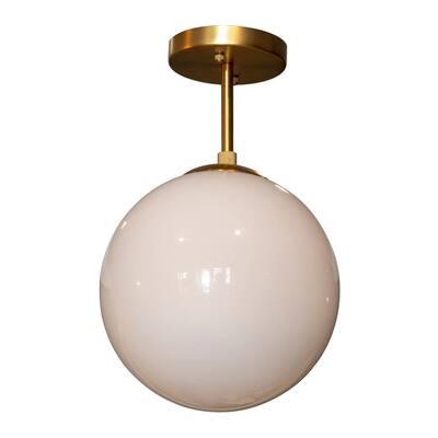 Michael 1-Light Antique Brass with Milk Glass Semi Flush Mount Ceiling Light