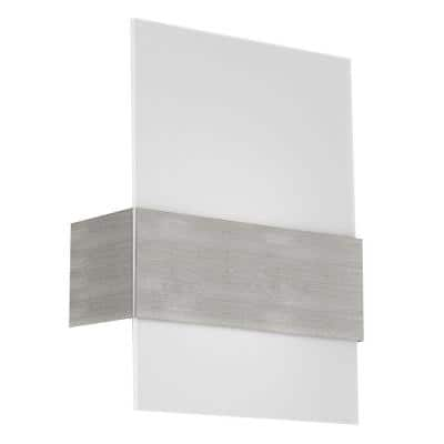 Nikita 8.875 in. W x 11.375 in. H 1-Light Matte Nickel Wall Sconce with Satin Glass Shade