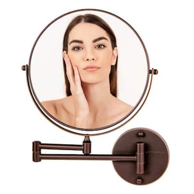 Small Round Antique Bronze Modern Mirror (13.2 in. H x 1.6 in. W)