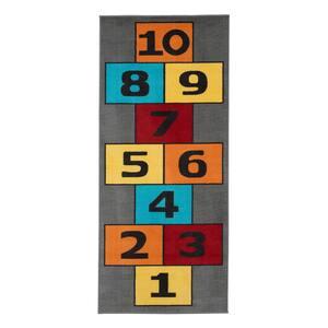 Children Garden's Collection Grey Background Hopscotch Design 2 ft. 7 in. x 6 ft. Non-Slip Kids Runner Rug