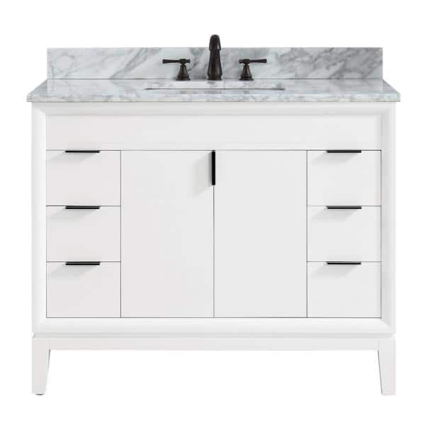Avanity Emma 43 In W X 22 In D X 35 In H Bath Vanity In White With Marble Vanity Top In Carrara White With Basin Emma Vs43 Wt C The Home Depot