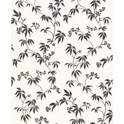 Bamboo Floral Off-White Wallpaper Sample