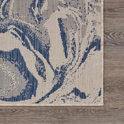 Abstract Cream / Navy Blue 3 ft. x 5 ft. Oasis Polypropylene Indoor/Outdoor Area Rug
