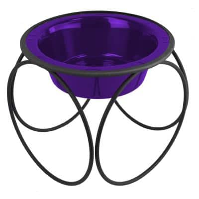 Olympic Diner Feeder with Stainless Steel Cat/Dog Bowl, Electric Purple