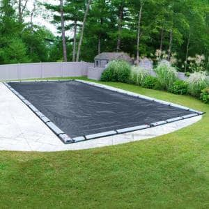 Robelle Premium Mesh Xl 16 Ft X 36 Ft Rectangular Blue And Black Mesh In Ground Winter Pool Cover 421636r The Home Depot