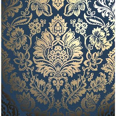Platinum Navy Blue Damask Wallpaper
