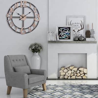 "Utopia Alley Oversized Roman Round Wall Clock -28"" Diameter, Multi-Tone Wood finish"