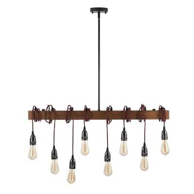 8-Light Wood Kitchen Island Linear Pendant with Oak Wood Beam