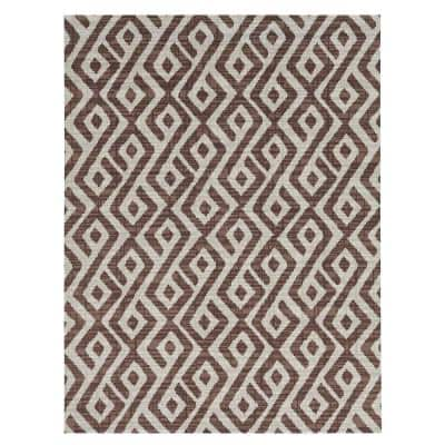 Printed Abstract Beige/White 6 ft. x 8 ft. Indoor/Outdoor Area Rug